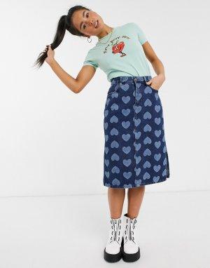 Джинсовая юбка миди с сердцами LAZY OAF-Синий Oaf