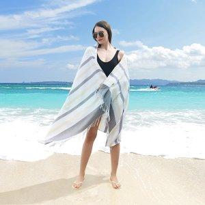 1шт Многофункциональное полотенце в полоску с бахромой SHEIN. Цвет: многоцветный