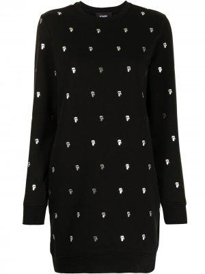 Трикотажное платье с узором Karl Lagerfeld. Цвет: черный