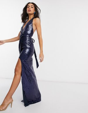 Темно-синее платье макси с халтером, запахом и пайетками -Темно-синий Goddiva