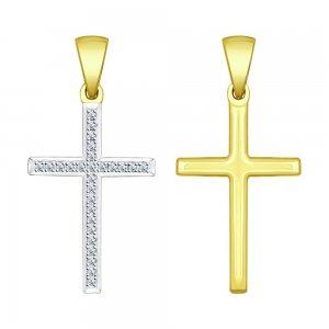 Крестик из жёлтого золота с бриллиантами SOKOLOV Diamonds