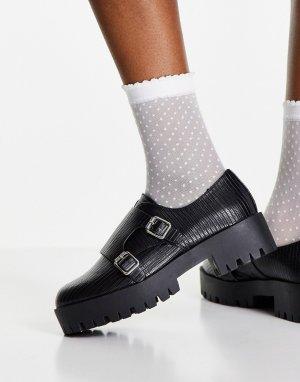 Черные туфли-монки на толстой подошве с эффектом кожи ящерицы Misty-Черный цвет ASOS DESIGN