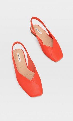 Красные Туфли-Мюли На Плоской Подошве Женская Коллекция Оранжевый 36 Stradivarius. Цвет: оранжевый
