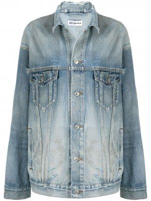 Джинсовая куртка с прорезями BALENCIAGA. Цвет: синий