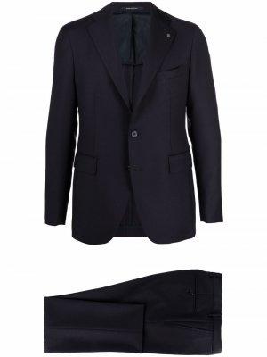 Строгий костюм с однобортным пиджаком Tagliatore. Цвет: синий