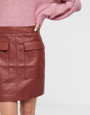 Красная кожаная мини-юбка с карманами Femme-Красный Selected