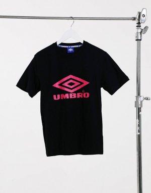 Черная прямая футболка с логотипом -Черный Umbro