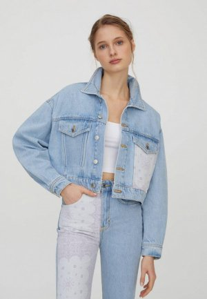 Куртка джинсовая Pull&Bear Join Life. Цвет: голубой