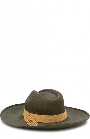 Соломенная шляпа с плетеной лентой Artesano. Цвет: оливковый