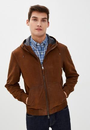 Куртка кожаная Polo Ralph Lauren. Цвет: коричневый