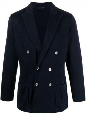 Двубортный пиджак с заостренными лацканами Lardini. Цвет: синий