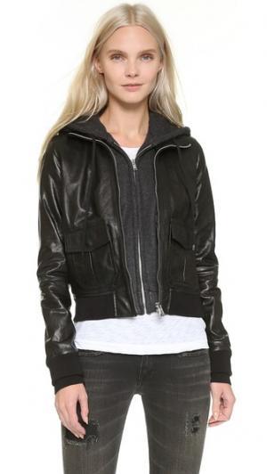 Кожаная летная куртка с капюшоном R13. Цвет: черно-угольный трикотаж