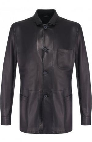 Кожаная куртка с отложным воротником Giorgio Armani. Цвет: синий