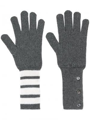 Вязаные перчатки Thom Browne. Цвет: серый