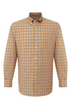 Хлопковая рубашка с воротником button down Burberry. Цвет: бежевый