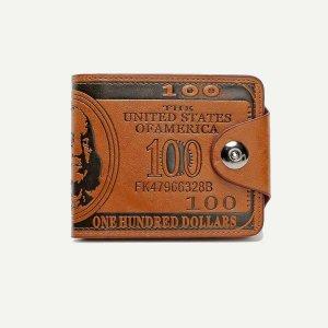 Мужской кошелёк с текстовым принтом SHEIN. Цвет: коричневые