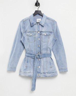Голубая джинсовая куртка с поясом -Голубой Object