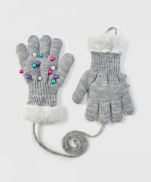 Трикотажные перчатки для девочек O`Stin. Цвет: серебряный