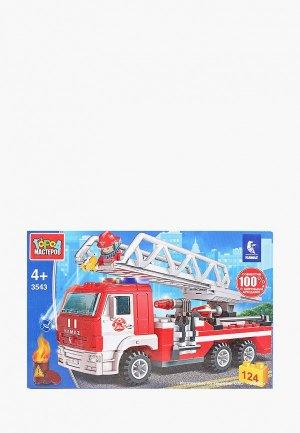 Конструктор Город Мастеров «Пожарный КАМАZ с лестницей», 124 детали. Цвет: разноцветный