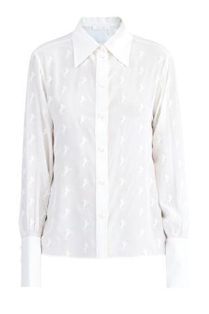 Шелковая рубашка в ретро-стиле с вышивкой по всему полотну CHLOE. Цвет: белый
