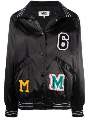 Куртка-бомбер с нашивкой-логотипом MM6 Maison Margiela. Цвет: черный