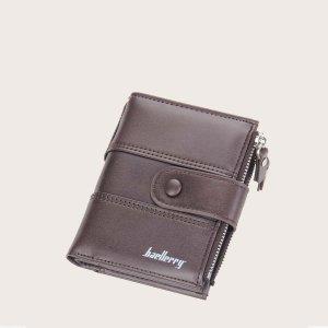Мужской кошелек с текстовым рисунком SHEIN. Цвет: кофейный коричневый