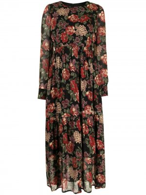 Платье с оборками и цветочным принтом Antonio Marras. Цвет: черный