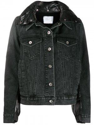 Джинсовая куртка с дутой вставкой Sacai. Цвет: черный