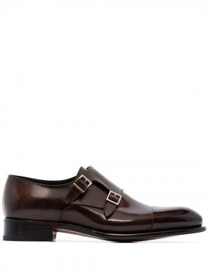 Туфли монки Santoni. Цвет: коричневый