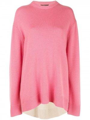 Кашемировый свитер оверсайз с контрастной вставкой Derek Lam. Цвет: розовый