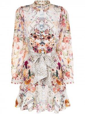 Платье миди с цветочным принтом Camilla. Цвет: белый