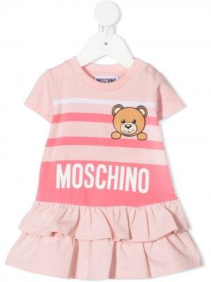 Платье мини Teddy Bear в горизонтальную полоску Moschino Kids. Цвет: розовый