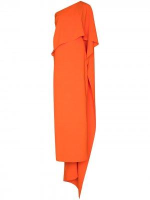 Платье макси на одно плечо Carolina Herrera. Цвет: оранжевый