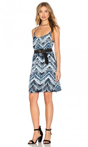 Платье на бретельках с юбкой-солнцеклеш Michael Stars. Цвет: синий