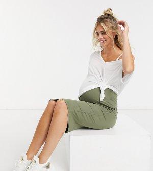 Юбка-карандаш миди темно-оливкового цвета ASOS DESIGN Maternity-Зеленый Maternity
