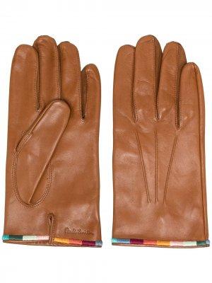 Перчатки с вышивкой Paul Smith. Цвет: коричневый