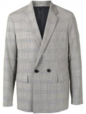 Двубортный пиджак в клетку SOLID HOMME. Цвет: серый