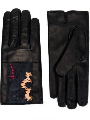 Перчатки с вышивкой Maison Margiela. Цвет: чёрный