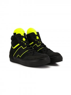 Высокие кроссовки со шнуровкой и молнией Cinzia Araia Kids. Цвет: черный