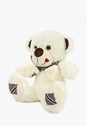 Игрушка мягкая Tashatoys Медведь с шарфом в полоску.. Цвет: белый