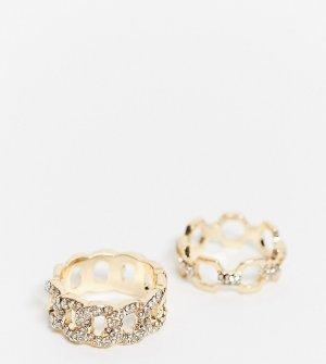 Набор из 2 золотистых колец с отделкой камнями ASOS DESIGN Curve-Золотой Curve