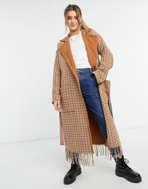 Коричневое пальто в клетку с поясом и бахромой -Бежевый BB Dakota