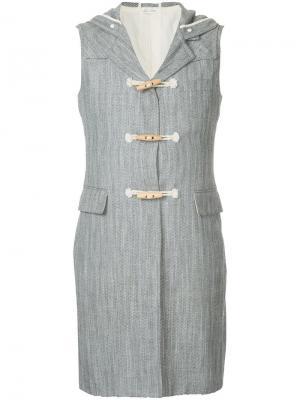 Длинная жилетка с капюшоном Comme Des Garçons Pre-Owned. Цвет: серый
