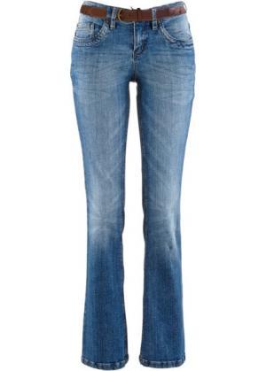 Расклешенные джинсы-стретч с ремнем, высокий рост (L) (темный деним) bonprix. Цвет: темный деним