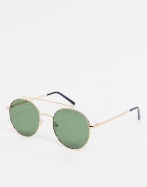 Круглые солнцезащитные очки в золотистой оправе с прямой планкой сверху -Золотистый AJ Morgan
