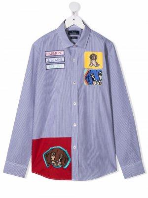 Полосатая рубашка с нашивкой Harmont & Blaine Junior. Цвет: синий