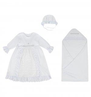 Крестильный набор пеленка/платье/чепчик Leo