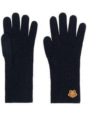Шерстяные перчатки с логотипом Tiger Kenzo. Цвет: синий