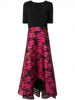 Расклешенное платье миди с вышивкой Badgley Mischka. Цвет: черный