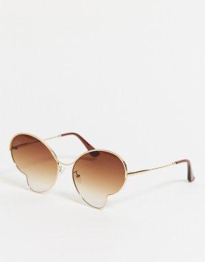 Золотистые солнцезащитные очки в форме бабочки -Золотистый Jeepers Peepers